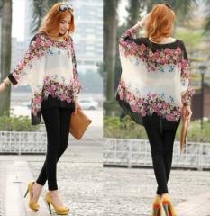 Chiffon Shirt Tops Blouse Bohemian Style white l