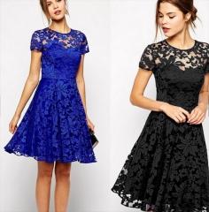 Stylish Short Sleeve O-Neck Sexy Lace Zipper Dress blue s