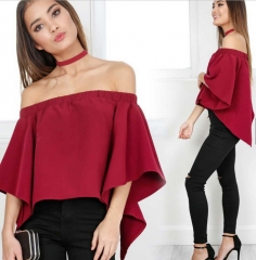 Sexy Off Shoulder Casual Blouse Summer Tops Beach T Shirt red wine s