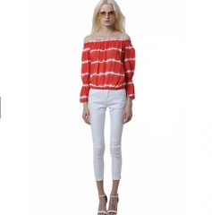 Women Long Sleeve Stretchy Off the Shoulder Striped Tops Shirt Blouse red s