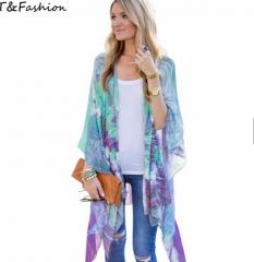 Women Vintage Chiffon Blouse Split Long Kimono Shirt blue s