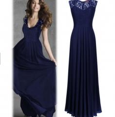 Elegant Sleeveless hollow halter party dress maxi evening dress blue s
