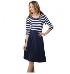 2017 Hot Sale Summer Style Short Dress Women's O-neck Women's Navy Style Stripe Casual Swing Dress blue s