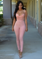 Jumpsuits for Womens  Bodycon Playsuit Fitness Bodysuit Women Sexy Elegant Jumpsuits Rompers pink m