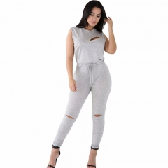 Jumpsuit for Women Jumpsuit Slit Creative Zip Line Jumpsuit Sexy Bodycon Jumpsuit grey s