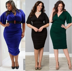 Women's Short Sleeved Dress Perspective Evening Bodycon V-neck A Line Shape Dress Large Size -green darkblue l