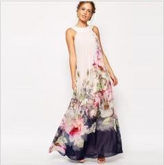 Woman Fashion Maxi Print Floral Dresses White Long Dress Sleeveless Vestidos Beachwear Dress picture color s