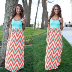 High Quality Brand Women Summer Dress Striped Print Long Dress Beach Boho Maxi Dress blue s