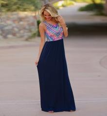 Women Fashion Summer Long Solid Bohemia Dresses Elegant Casual Sweet Wedding Party Dresses dark blue s