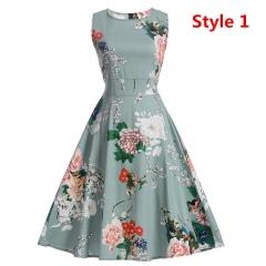 Women's Summer Dress Floral Print Retro Vintage Dress Elegant Style Casual Party Office Dress 01 s