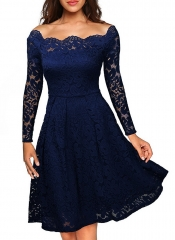 Woman Elegant Lace Long Sleeve Off Shoulder Sexy See Through Party Evening Club Casual Swing Dress dark blue s