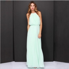 Fashion Style Chiffon Lanon Polyester Halter Dress Cute Sexy Maxi Solid Sleeveless Pleated Dress blue s