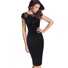 Summer Crochet Embroidery Floral Plus Size Straight Elegant Evening Party Bodycon Work Office Dress black s