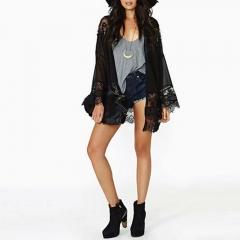 Womens Casual Vintage Boho Kimono Cardigan Lace Crochet Chiffon Loose Blouse Tops black s