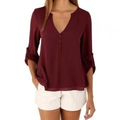 Women Chiffon Blouses Sexy Long Sleeve V-Neck Shirts Female Plus Size Tops Blusas Femininas wine red s