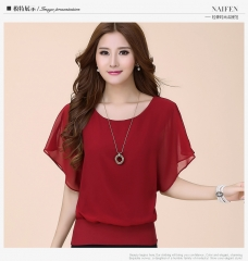 Women Tops Summer Chiffon Blouse Plus Size Ruffle Batwing Short Sleeve Casual Shirt wine red s