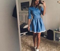 BEFORW Autumn New Fashion Lace Women Dress Leisure Slim Denim Dress Vintage Cute blue s