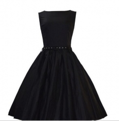 Women Summer Elegant Office Dress Female Black Pleated A-Line Sundress blue s