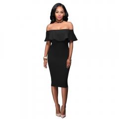 Female Fashion Sexy Slash neck Backless Slim Dress Club Party Dresses Women Dress Clothing Vestidos black s