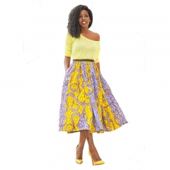 Women Fashion Sexy High Waist Off Shoulder A Line Dress Vestidos Midi Dresses Casual Dresses yellow s