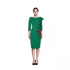 Women's Long Sleeve Elegant Embroidery Square Neck Knee Length Dress Formal Dresses green m