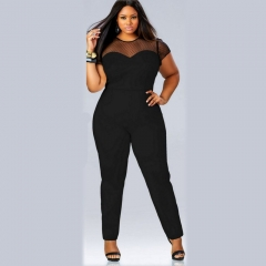 New Arrival Bodycon Women Rompers Sexy Skinny Lace Patchwork Soild O-Neck Jumpsuits black l