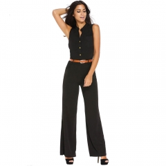 Casual Belted Wide Leg Full Length Women Jumpsuit Jumpsuits Rompers black s