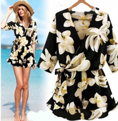 summer the new fashion 1/2 sleeve printing casual women's jumpsuits yellow xl