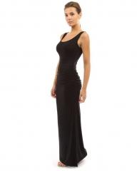 Fashion Summer Casual Draped Empire Polyester Fit And Flare Maxi Dress Vestidos De Fiesta Long Dress black s