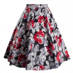 Summer dress Women Sexy Vintage Floral Print Skirt Flared Skirt red s