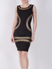 Womens Elegant Metal Ruched  Casual sexy Hip Special Sleeveless Occasion Sheath Bodycon Dress black s