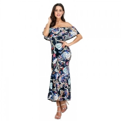 Ladies Out Of Shoulder Sexy Sleeveless Bodycon Floral Print Dresses Off Shoulder  MAxi Dress picture color s