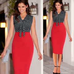 New Women Vintage Patchwork Stretchy Sheath Bow Slimming Party Dress Vintage Knee-Length Dress red s