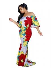 short sleeve maxi long floral print dress women fashion ladies elegant party retro womens dresses picture color s