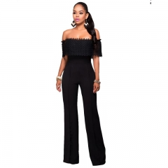 Sexy Hollow Out Long Jumpsuits And Rompers Womens Fashion Elegant Plus Size Playsuits Overalls black s