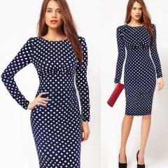 Women Vintage Polka Dot Print Long Sleeve Knee-Length Casual Stretchy Bodycon Pencil Dresses blue s