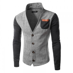 New Mens splicing cardigan collar sweater mens jacket sweater coat black m