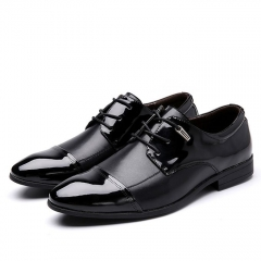 Super Large Size Business Formal Men's Basic Flat Super Fiber Gentle Wedding Leather Shoes black 38