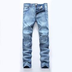 Mens Luxury Stone Washes Hose Destroyed Denim Pant Jeans blue 28