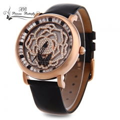 Princess Butterfly Japan Movement Austria Crystal Sapphire Mirror Wristwatch Genuine Leather golden
