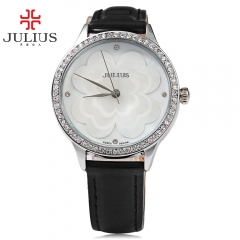 JULIUS Women Quartz Watch Artificial Diamond Dial Water Resistance Wristwatch Relogio Feminino black