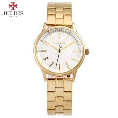 2016 JULIUS Quartz Watch Women Female Stainless Steel Plated Classic Round Watches Waterproof WHITE AND GOLDEN
