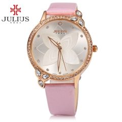 JULIUS Brand 2016 Women Quartz Watch Artificial Diamond Dial Waterproof Leather Floral Wristwatch pink