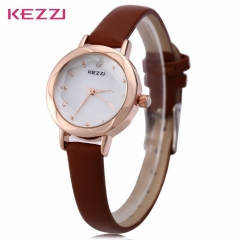 KEZZI K - 770 Women Quartz Watch Petal Shaped Dial Slender Leather Band Wristwatch relogio feminino brown