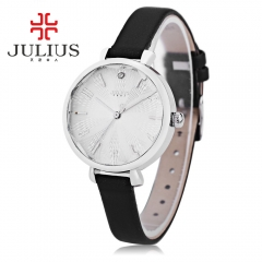 JULIUS Slender Genuine Leather Band Women Watches Famous Brand Round Dial Waterproof Ladies Dress black
