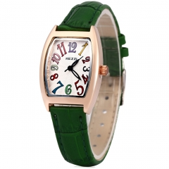Colorful Number Clock KEZZI Brand Women Quartz Watch Solid Leather Strap Female Watch Rectangle green