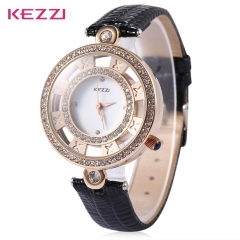 KEZZI Hollow Artificial Diamond Luxury Fashion Female Leather Strap Quartz Watch Relogio Feminino black