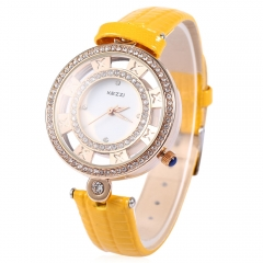 KEZZI Hollow Artificial Diamond Luxury Fashion Female Leather Strap Quartz Watch Relogio Feminino yellow