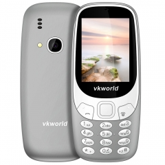 Vkworld Z3310 Quad Band Unlocked Phone 2.4 inch 3D Arc Screen Spreadtrum 6531 Bluetooth 2.0MP Camera gray