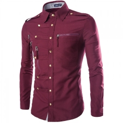The new long - sleeved shirt men 's fashion trend deduction Slim shirt Red wine L